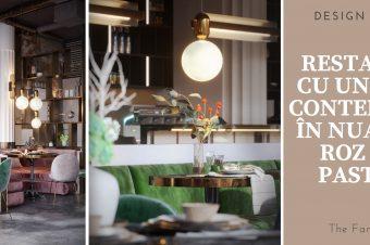 Restaurant cu un design contemporan în nuanțe de roz și gri pastelat